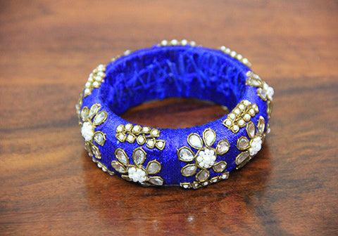 Thick Blue Zardozi Bangle