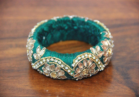 Thick Green Zardozi Bangle