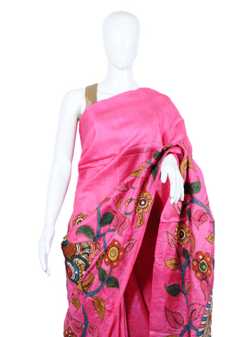 Pink Tussar Silk Applique Pen Kalamkari Saree