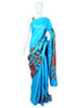 Blue Tussar Silk Applique Pen Kalamkari Saree