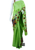Light Green Tussar Silk Applique Pen Kalamkari Saree