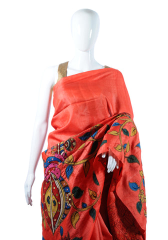 Red Tussar Silk Applique Pen Kalamkari Saree Design 2