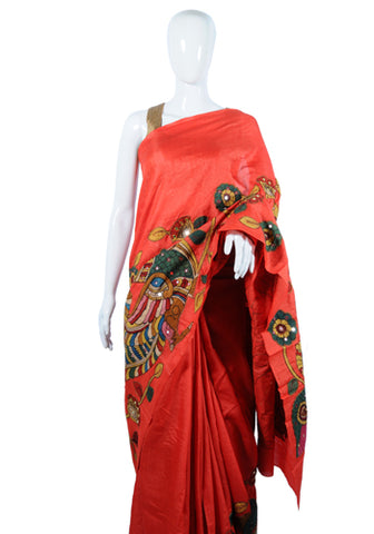 Red Tussar Silk Applique Pen Kalamkari Saree Design 3