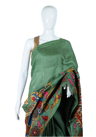 Olive Green Tussar Silk Applique Pen Kalamkari Saree