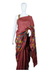 Brownish Maroon Tussar Silk Applique Pen Kalamkari Saree
