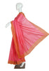 Pink Tussar Silk Saree with Yellow Cut Work