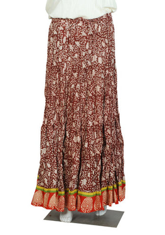 Brown and Red Crinkled Long Blockprinted Skirt