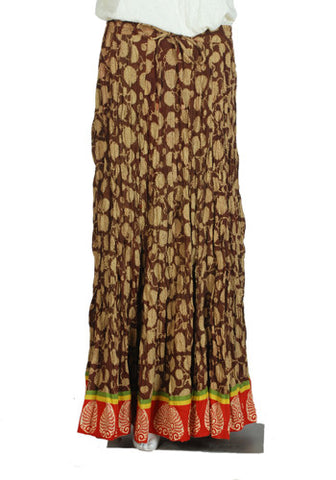 Crinkled Long Blockprinted Skirt Design 4