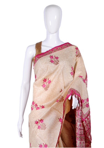 Block Printed Tussar Silk Saree Design 2