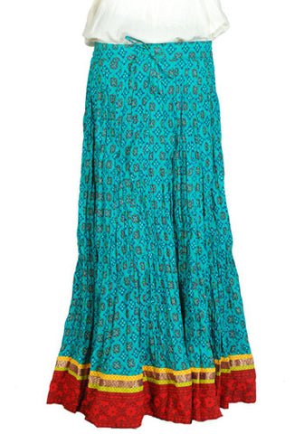 Crinkled Long Blockprinted Skirt Design 10