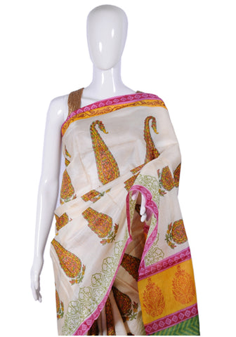 Block Printed Tussar Silk Saree Design 4