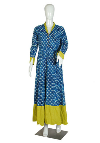 Blue Blockprinted Dress with Light Green Border