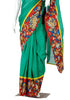 Green Chanderi Saree with Handpainted Kalamkari Border