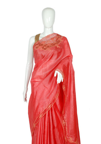 Pink Tussar Silk Saree with Pink Cut Work