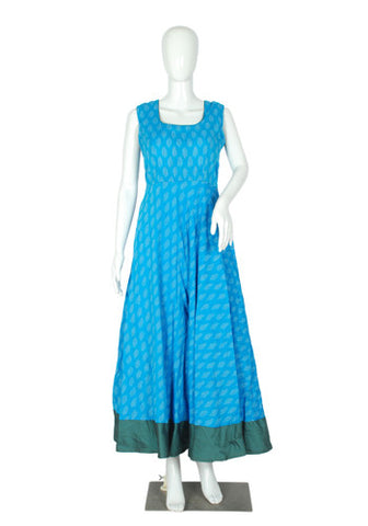 Blue and Grey Ikat Anarkali Dress