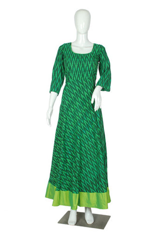 Green Ikat Anarkali Dress