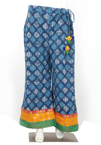 Blue and Yellow Blockprinted Palazzo