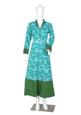 Light Blue and Green Blockprinted Dress