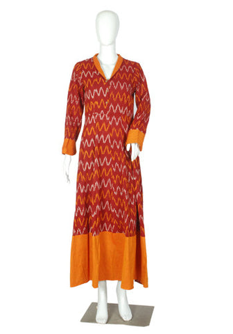 Maroon and Orange Ikat Dress