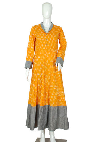 Yellow and Grey Ikat Dress