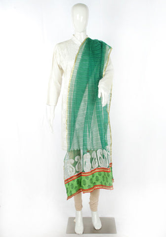 Green Dupatta with Appique Work