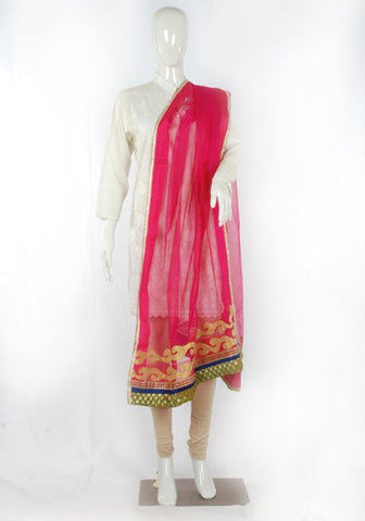 Pink Stole with Applique Work Design 2