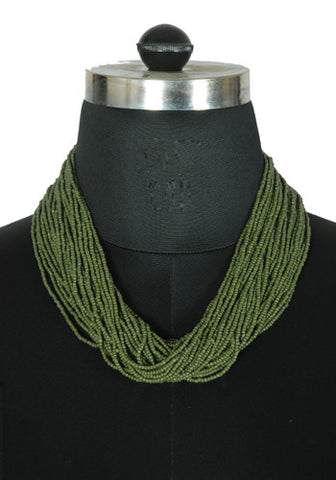 Mehendi Green Beaded Tribal Necklace