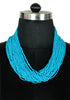 Bright Blue Beaded Tribal Necklace
