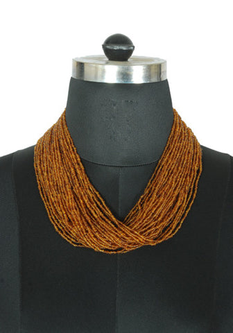 Brown Beaded Tribal Necklace