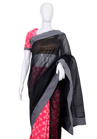 Black and Pink Ikat Saree