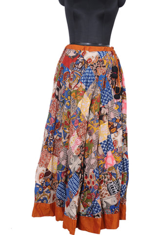 Upcycled Long Skirt with Orange Border
