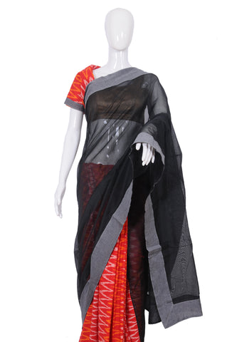 Black and Red Ikat Saree