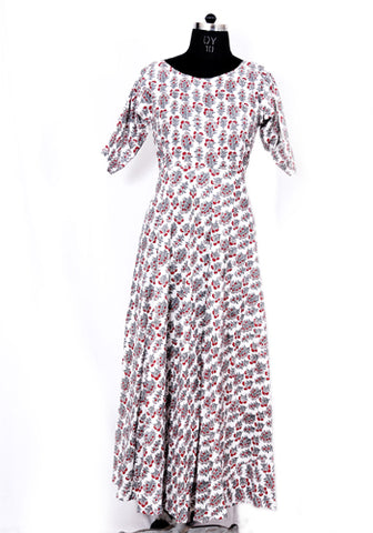 Off  White Block Printed Dress