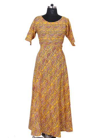 Yellow Block Printed Dress
