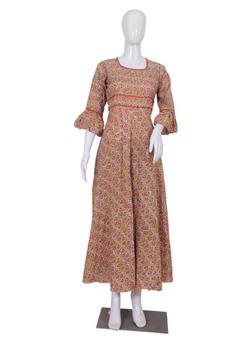 Yellowish Green and Red Block Printed Long Dress