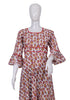 White and Red Block Printed Long Dress Design 1