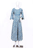 White and Blue Block Printed Long Dress