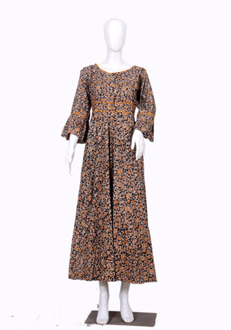 Black and Yellow Block Printed Long Dress