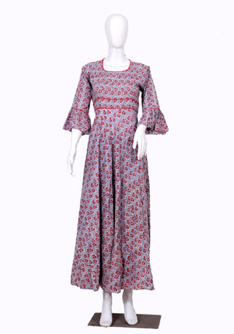 Grey and Red Block Printed Long Dress