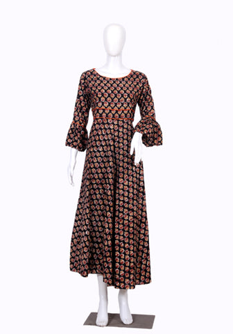 Black and Orange Block Printed Long Dress