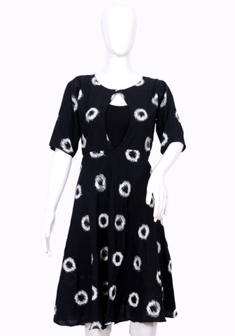 Black Ikat Short Dress