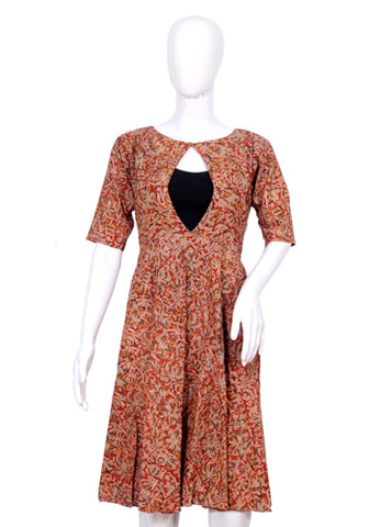 Brown Block Printed Short Dress