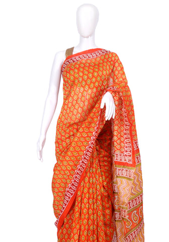 Block Printed Chanderi Saree Design 5