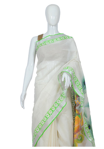 Kerala Saree with Handpainted Mural Design 5