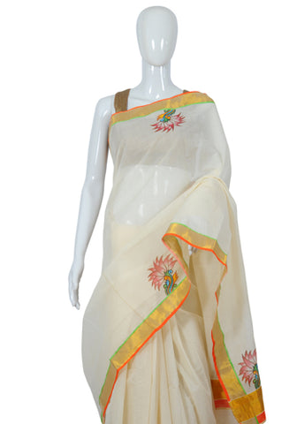 Kerala Saree with Handpainted Mural Design 10