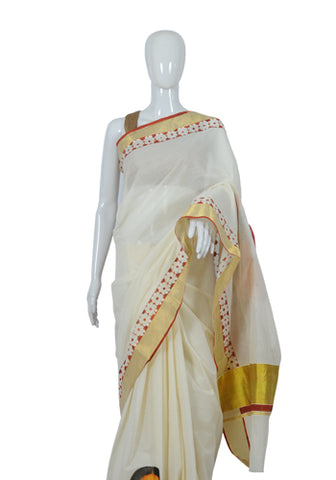 Kerala Saree with Handpainted Mural Design 13