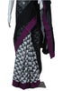 Black, White and Purple Ikat Saree