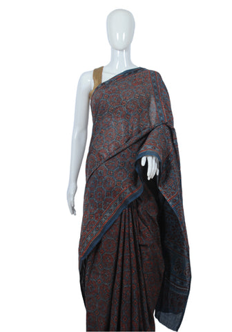 Cotton Mul Ajrakh Block Printed Printed Saree Design 5