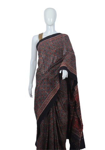 Cotton Mul Ajrakh Block Printed Printed Saree Design 10