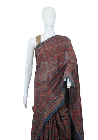 Cotton Mul Ajrakh Block Printed Printed Saree Design 11